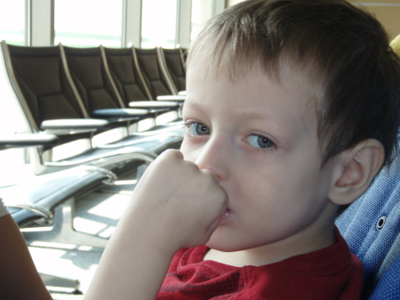Parker thinking at airport 4-21-10