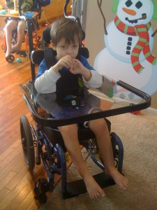 Parker in his new wheelchair