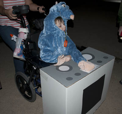 Parker as Ratatouille with his Stove Top Wheelchair
