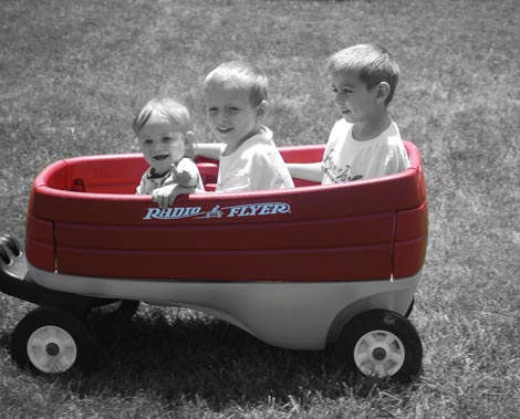 Boys enjoying wagon ride